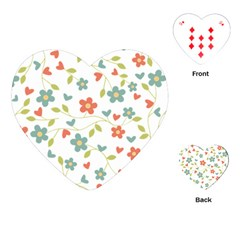 Abstract Vintage Flower Floral Pattern Playing Cards (heart)
