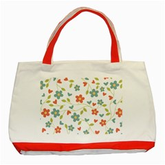 Abstract Vintage Flower Floral Pattern Classic Tote Bag (red)