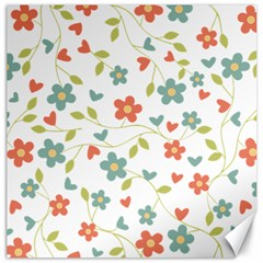 Abstract Vintage Flower Floral Pattern Canvas 20  X 20