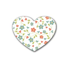 Abstract Vintage Flower Floral Pattern Heart Coaster (4 Pack)