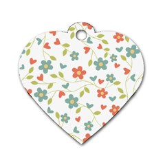 Abstract Vintage Flower Floral Pattern Dog Tag Heart (two Sides)