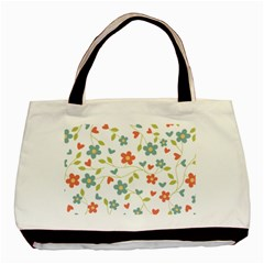 Abstract Vintage Flower Floral Pattern Basic Tote Bag (two Sides)