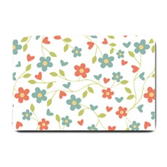 Abstract Vintage Flower Floral Pattern Small Doormat