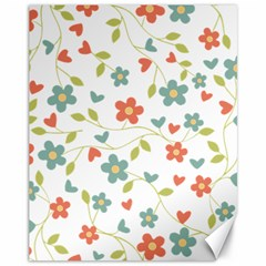 Abstract Vintage Flower Floral Pattern Canvas 11  X 14