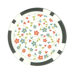 Abstract Vintage Flower Floral Pattern Poker Chip Card Guard