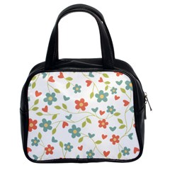 Abstract Vintage Flower Floral Pattern Classic Handbags (2 Sides)