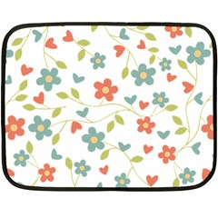 Abstract Vintage Flower Floral Pattern Double Sided Fleece Blanket (mini)