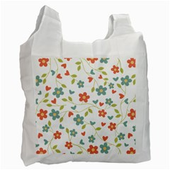 Abstract Vintage Flower Floral Pattern Recycle Bag (one Side)