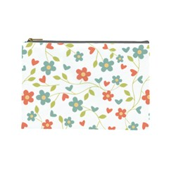 Abstract Vintage Flower Floral Pattern Cosmetic Bag (large)