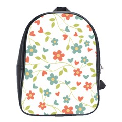 Abstract Vintage Flower Floral Pattern School Bags(large)