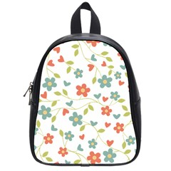 Abstract Vintage Flower Floral Pattern School Bags (small)