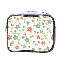 Abstract Vintage Flower Floral Pattern Mini Toiletries Bags