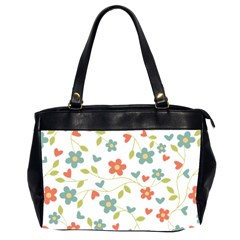 Abstract Vintage Flower Floral Pattern Office Handbags (2 Sides)