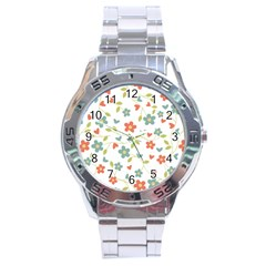 Abstract Vintage Flower Floral Pattern Stainless Steel Analogue Watch