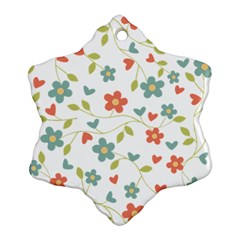 Abstract Vintage Flower Floral Pattern Snowflake Ornament (two Sides)