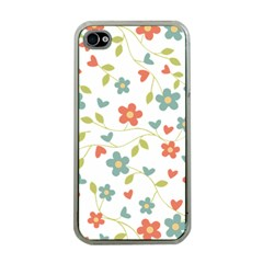 Abstract Vintage Flower Floral Pattern Apple Iphone 4 Case (clear)