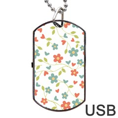 Abstract Vintage Flower Floral Pattern Dog Tag Usb Flash (two Sides)