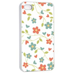 Abstract Vintage Flower Floral Pattern Apple Iphone 4/4s Seamless Case (white)