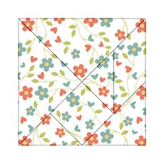 Abstract Vintage Flower Floral Pattern Acrylic Tangram Puzzle (6  X 6 )