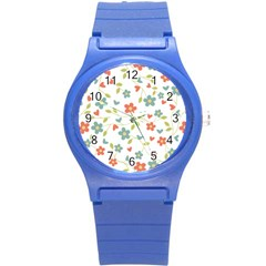 Abstract Vintage Flower Floral Pattern Round Plastic Sport Watch (s)