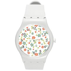 Abstract Vintage Flower Floral Pattern Round Plastic Sport Watch (m)