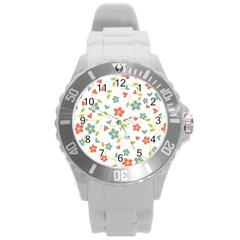 Abstract Vintage Flower Floral Pattern Round Plastic Sport Watch (l)