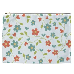 Abstract Vintage Flower Floral Pattern Cosmetic Bag (xxl)