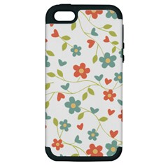 Abstract Vintage Flower Floral Pattern Apple Iphone 5 Hardshell Case (pc+silicone)