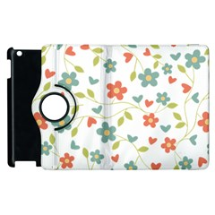 Abstract Vintage Flower Floral Pattern Apple Ipad 2 Flip 360 Case