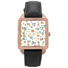 Abstract Vintage Flower Floral Pattern Rose Gold Leather Watch