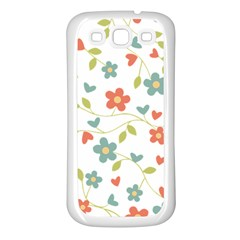 Abstract Vintage Flower Floral Pattern Samsung Galaxy S3 Back Case (white)