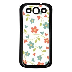 Abstract Vintage Flower Floral Pattern Samsung Galaxy S3 Back Case (black)