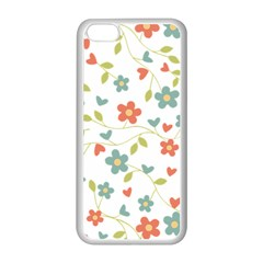 Abstract Vintage Flower Floral Pattern Apple Iphone 5c Seamless Case (white)