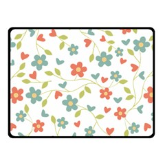 Abstract Vintage Flower Floral Pattern Double Sided Fleece Blanket (small)