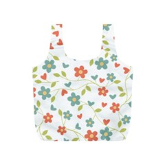 Abstract Vintage Flower Floral Pattern Full Print Recycle Bags (s)