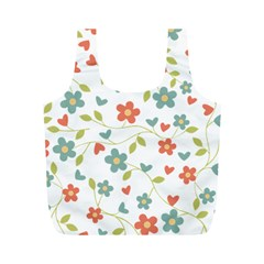 Abstract Vintage Flower Floral Pattern Full Print Recycle Bags (m)