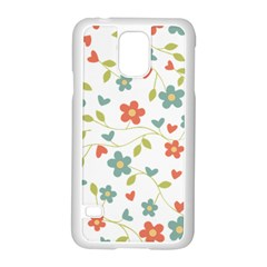 Abstract Vintage Flower Floral Pattern Samsung Galaxy S5 Case (white)