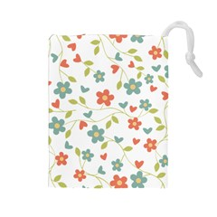 Abstract Vintage Flower Floral Pattern Drawstring Pouches (large)