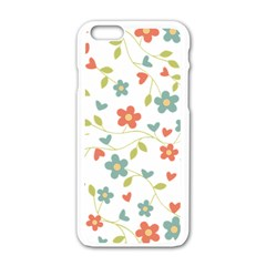 Abstract Vintage Flower Floral Pattern Apple Iphone 6/6s White Enamel Case
