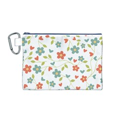 Abstract Vintage Flower Floral Pattern Canvas Cosmetic Bag (m)
