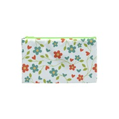 Abstract Vintage Flower Floral Pattern Cosmetic Bag (xs)