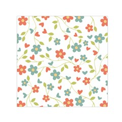 Abstract Vintage Flower Floral Pattern Small Satin Scarf (square)