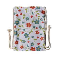 Abstract Vintage Flower Floral Pattern Drawstring Bag (small)