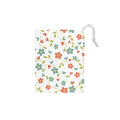 Abstract Vintage Flower Floral Pattern Drawstring Pouches (xs)