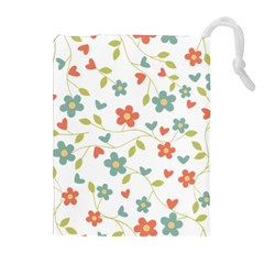 Abstract Vintage Flower Floral Pattern Drawstring Pouches (Extra Large)