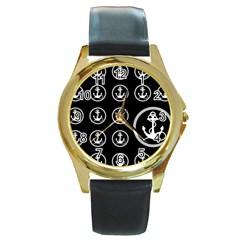 Anchor Pattern Round Gold Metal Watch