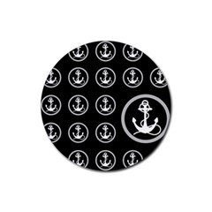 Anchor Pattern Rubber Round Coaster (4 Pack)