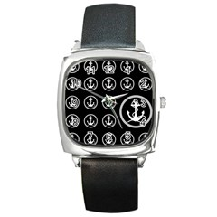 Anchor Pattern Square Metal Watch