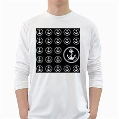 Anchor Pattern White Long Sleeve T Shirts