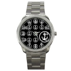 Anchor Pattern Sport Metal Watch